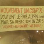 Une banderole de soutien politique suspendue sur une autoroute à Conakry en Guinée