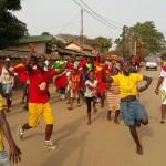 Supporteurs du Syli national dans les rues de Conakry